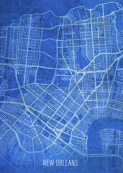 Wall Art - Mixed Media - New Orleans Louisiana City Street Map Blueprints by Design Turnpike