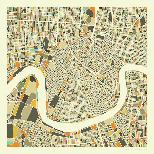New Orleans Wall Art - Digital Art - New Orleans Map 1 by Jazzberry Blue