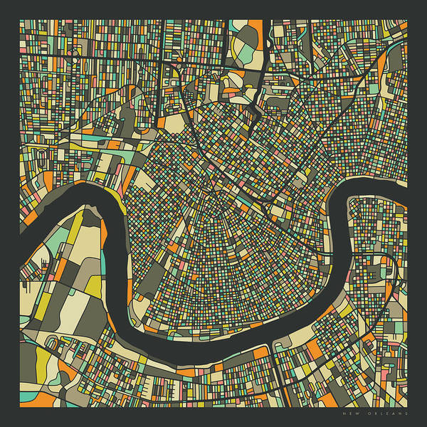 New Orleans Wall Art - Digital Art - New Orleans Map 2 by Jazzberry Blue