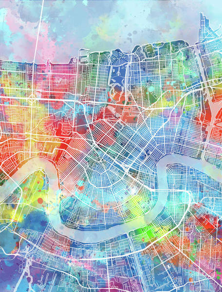 Wall Art - Digital Art - New Orleans Map Watercolor by Bekim M