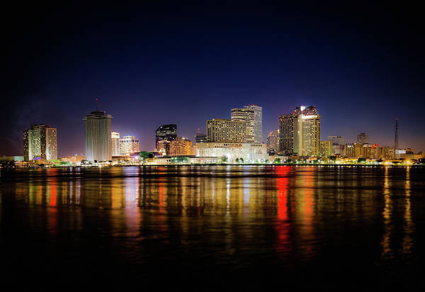Louisiana Photograph - New Orleans Night Panorama Skyline by Moreiso