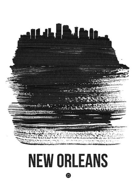 News Mixed Media - New Orleans Skyline Brush Stroke Black by Naxart Studio