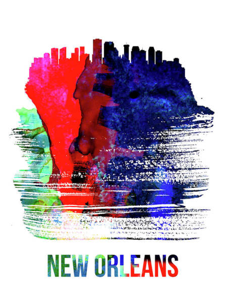Louisiana Wall Art - Mixed Media - New Orleans Skyline Brush Stroke Watercolor   by Naxart Studio
