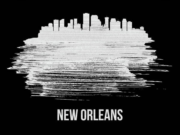 Louisiana Wall Art - Mixed Media - New Orleans Skyline Brush Stroke White by Naxart Studio