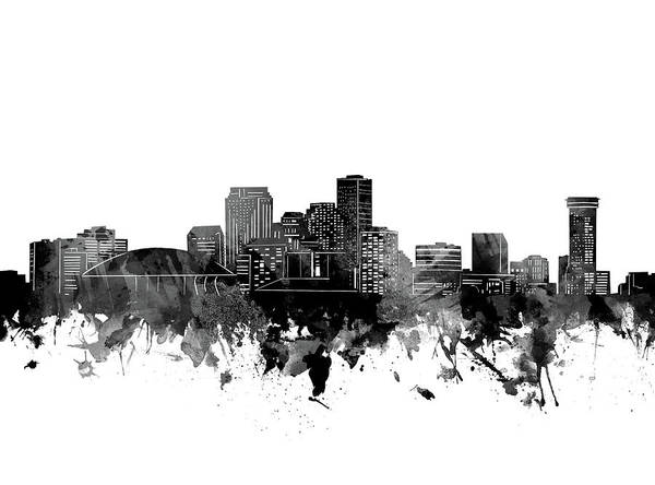 Wall Art - Digital Art - New Orleans Skyline Bw by Bekim M