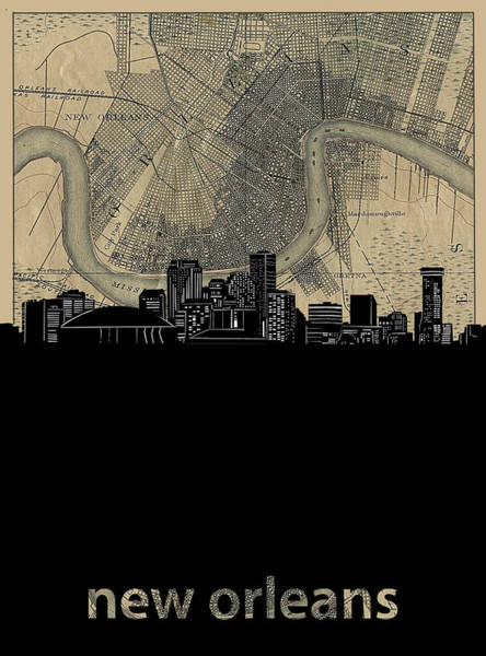 Wall Art - Digital Art - New Orleans Skyline Map by Bekim M