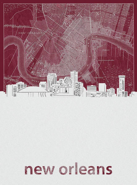 Wall Art - Digital Art - New Orleans Skyline Map Red by Bekim M