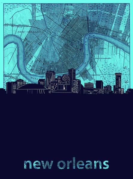 Wall Art - Digital Art - New Orleans Skyline Map Turquoise by Bekim M