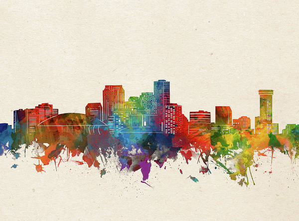 Wall Art - Digital Art - New Orleans Skyline Watercolor by Bekim M