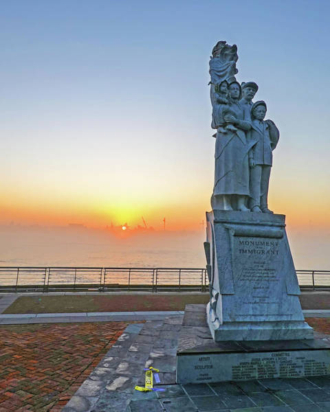 Photograph - New Orleans Sunrise Monument To The Immigrant Statue New Orleans Louisiana Mississippi River by Toby McGuire