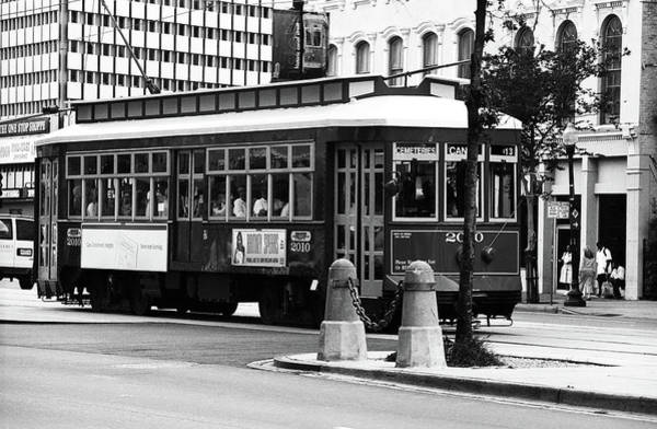 Photograph - New Orleans Trolley 2004 Bw by Frank Romeo