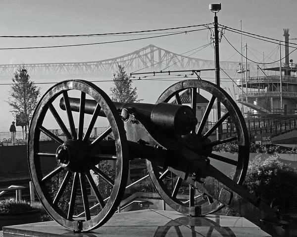 Photograph - New Orleans Washington Artillery Park Memorial Cannon Crescent City Connection Bridge Bw by Toby McGuire