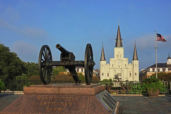 Photograph - New Orleans Washington Artillery Park Memorial Cannon Saint Louis Cathedral Jackson Square by Toby McGuire