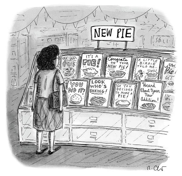 Celebration Drawing - New Pie by Roz Chast