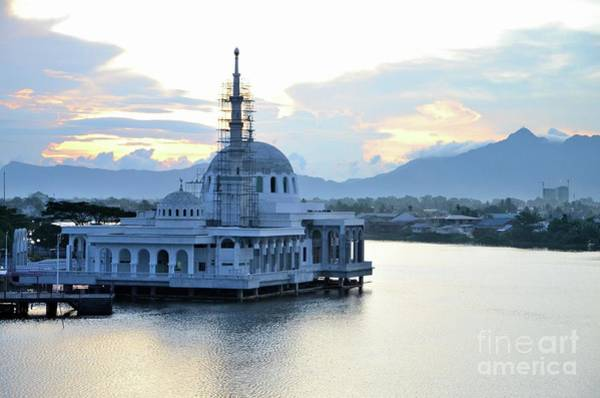 Photograph - New Under Construction Floating Mosque With Two Domes At Sarawak River Waterfront Kuching Malaysia by Imran Ahmed