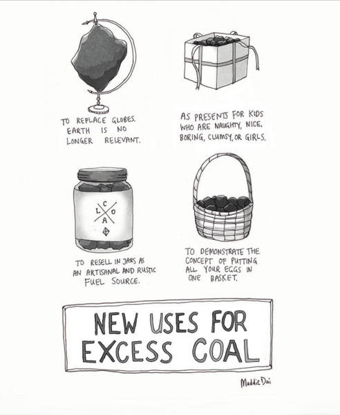 Globe Drawing - New Uses For Excess Coal by Maddie Dai