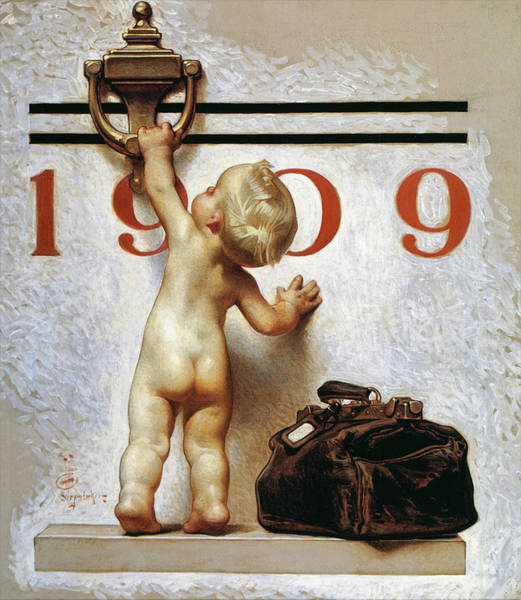 Wall Art - Painting - New Year Baby 1909 - Digital Remastered Edition by Joseph Christian Leyendecker