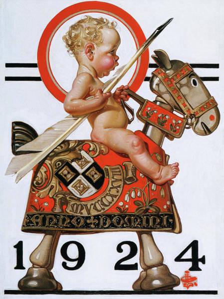 Wall Art - Painting - New Year Baby 1924 - Digital Remastered Edition by Joseph Christian Leyendecker