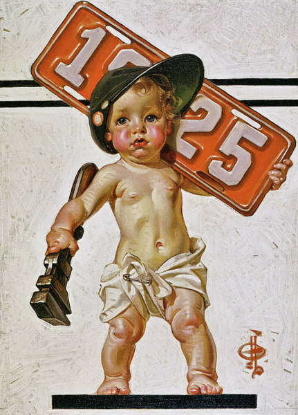 Wall Art - Painting - New Year Baby 1925 - Digital Remastered Edition by Joseph Christian Leyendecker