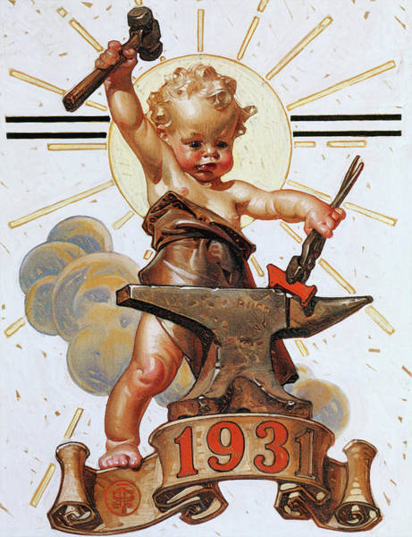 Wall Art - Painting - New Year Baby 1931 - Digital Remastered Edition by Joseph Christian Leyendecker