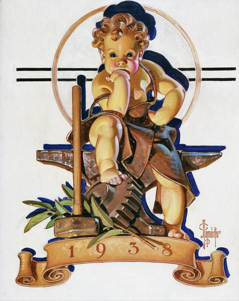 Wall Art - Painting - New Year Baby 1938 - Digital Remastered Edition by Joseph Christian Leyendecker