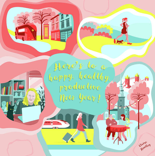 Jogging Painting - New Year Goals by Claire Huntley