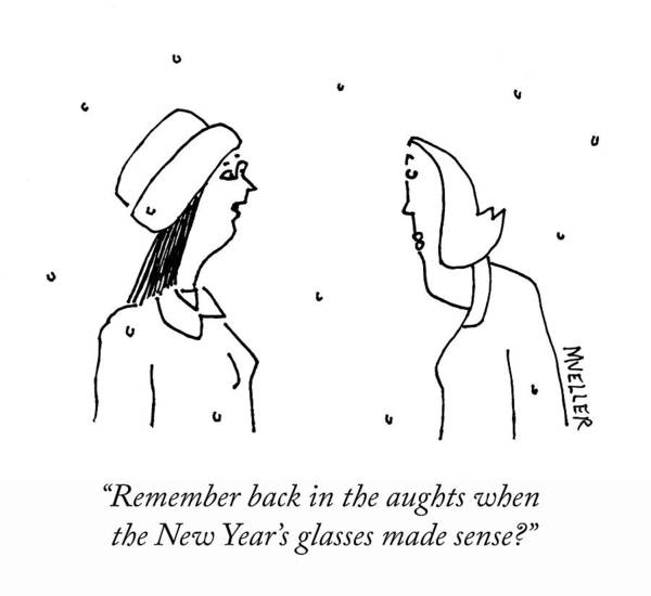 Mueller Drawing - New Years Glasses by Peter Mueller