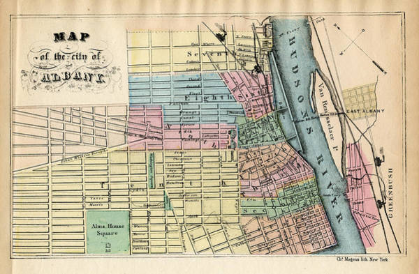 Outdoors Digital Art - New York, Albany 1850 To 1899 by Historic Map Works Llc