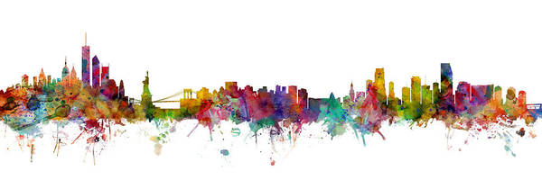 Wall Art - Digital Art - New York And Miami Skylines Mashup by Michael Tompsett