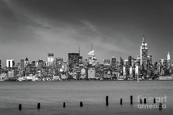 Wall Art - Photograph - New York At Night Black And White by Delphimages Photo Creations