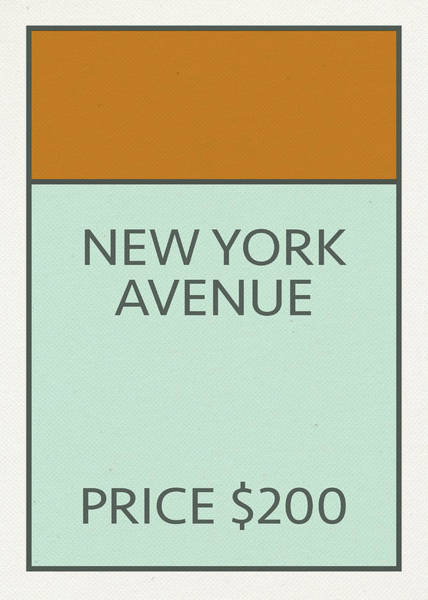 Wall Art - Mixed Media - New York Avenue Vintage Retro Monopoly Board Game Card by Design Turnpike