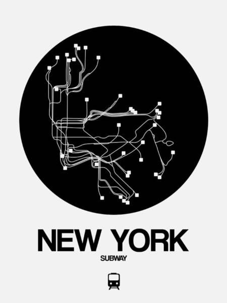 Subway Map Wall Art - Digital Art - New York Black Subway Map by Naxart Studio