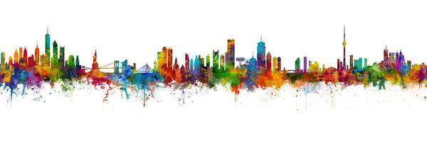 Wall Art - Digital Art - New York, Boston, Toronto Skylines Mashup by Michael Tompsett