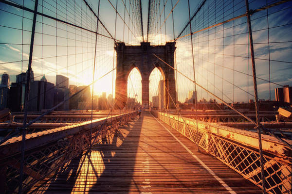 Photograph - New York  Brooklyn Bridge Sunset by Philipp Klinger