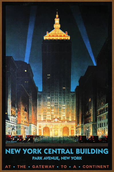 Wall Art - Painting - New York Central Building At Night - Vintage Illustrated Poster by Studio Grafiikka