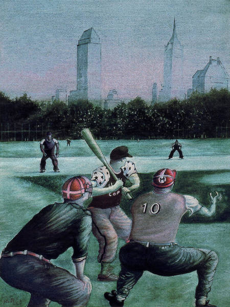 Painting - New York Central Park Baseball - Watercolor Art Painting by Peter Potter