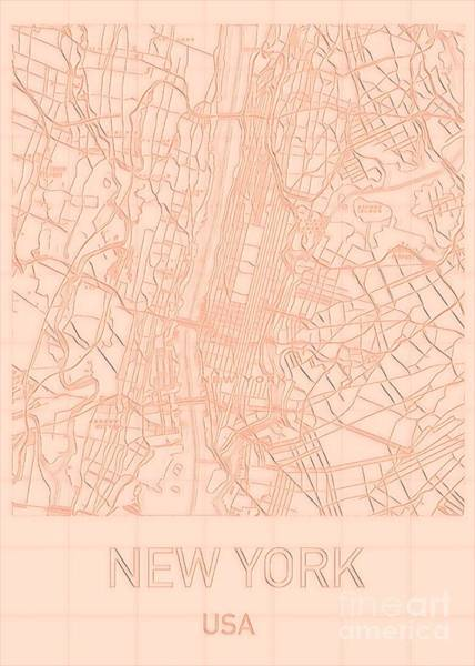 Digital Art - New York City Blueprint Map by Helge