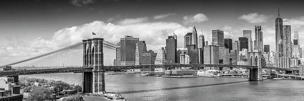 Wall Art - Photograph - New York City Brooklyn Bridge And Manhattan Skyline - Monochrome by Melanie Viola