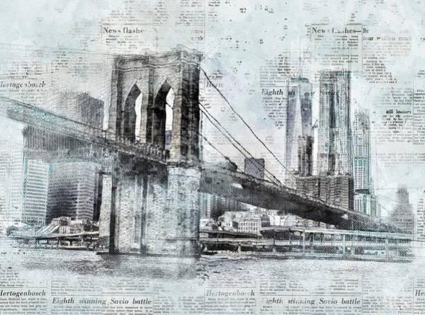 Brooklyn Bridge Digital Art - New York City - Brooklyn Bridge by ArtMarketJapan