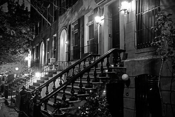Photograph - New York City Brownstones  Hell's Kitchen Chelsea Ny Black And White by Toby McGuire