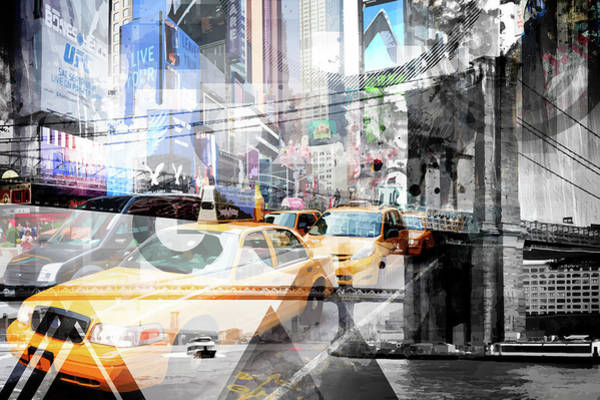 Triangle Mixed Media - New York City Geometric Mix No 9 by Melanie Viola