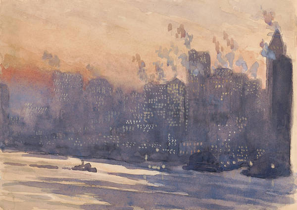 Manhattan Skyline Painting - New York City Harbor And Skyline At Night by Joseph Pennell