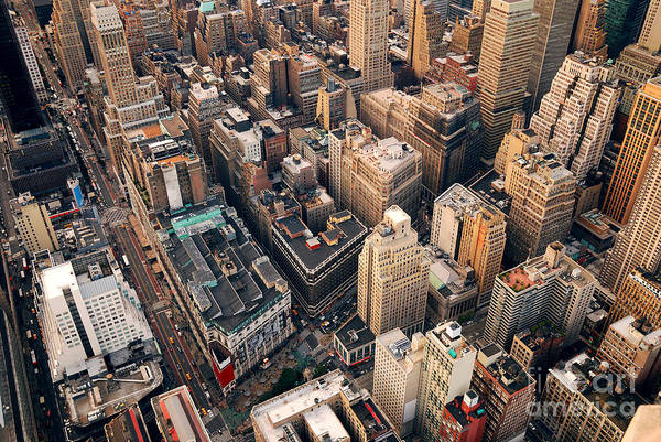 Midtown Photograph - New York City Manhattan Aerial Skyline by Songquan Deng