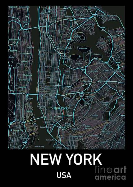 Best New Artist Digital Art - New York City Map Black Edition by Helge