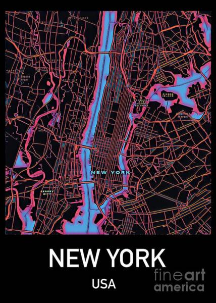 Digital Art - New York City Map by Helge