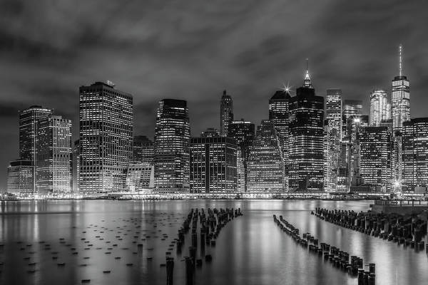 Wall Art - Photograph - New York City Monochrome Night Impressions  by Melanie Viola