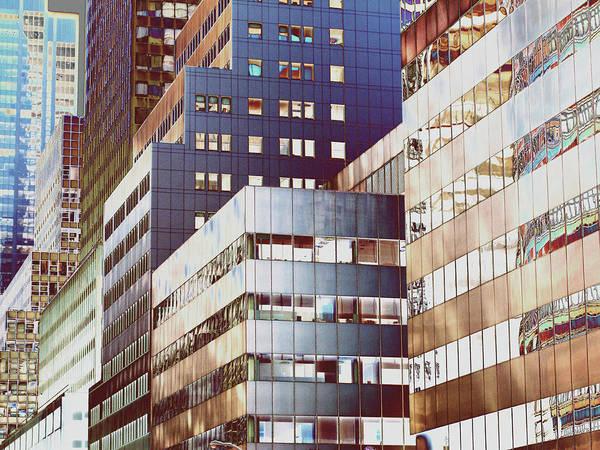 Exterior Digital Art - New York City Office Buildings, Abstract by Peter Neumann