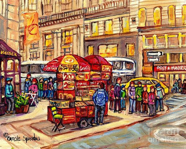 Painting - New York City Paintings For Sale  Manhattan Fine Art Food Cart Hot Dog Vendor C Spandau City Scene by Carole Spandau
