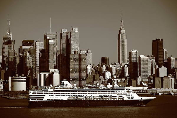 Holland America Line Wall Art - Photograph - New York City Skyline And Cruise Ship Sepia by Frank Romeo