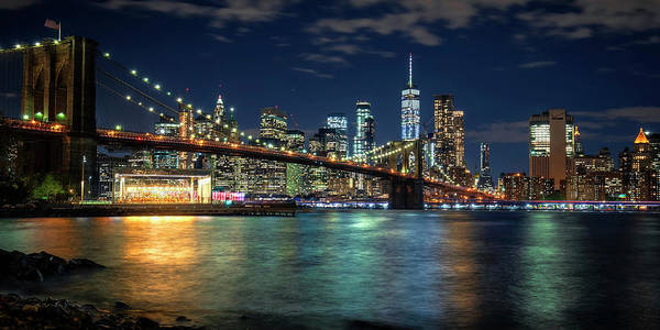 Photograph - New York City Skyline With Brooklyn Bridge by Harriet Feagin
